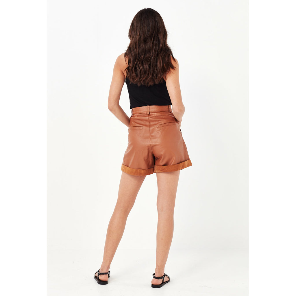 Remain Arizona Leather Shorts - Tan