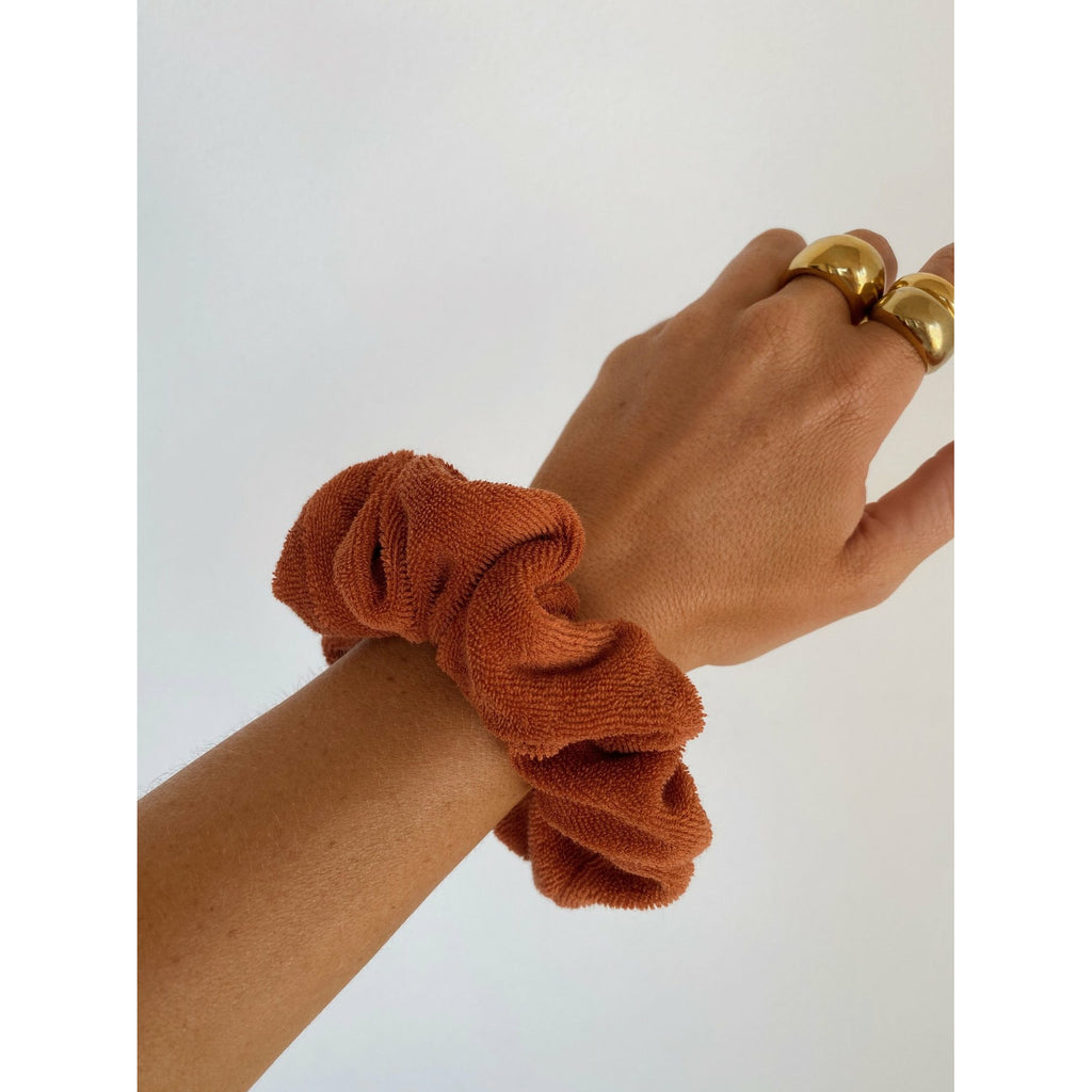 Araminta James Terry Towelling Scrunchie - Rust