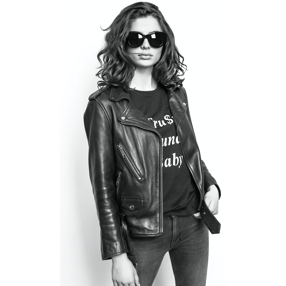 Raiine Mitchell Leather Biker Jacket - Black