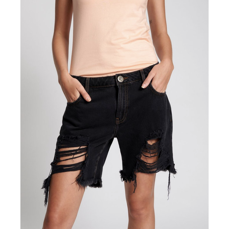 One Teaspoon Stevies Long Length Boyfriend Shorts - Worn Black