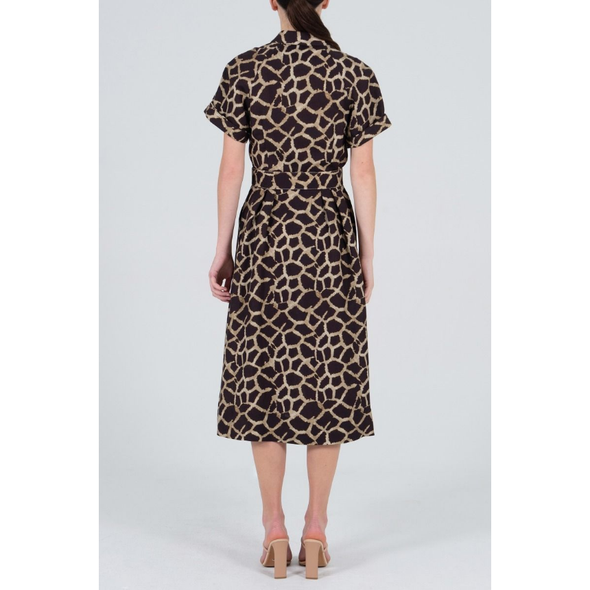 Rebecca Vallance Acacia Short Sleeve Midi Dress - Giraffe Print