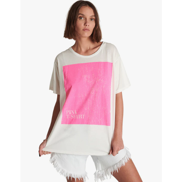 One Teaspoon Pink Boyfriend Tee - White