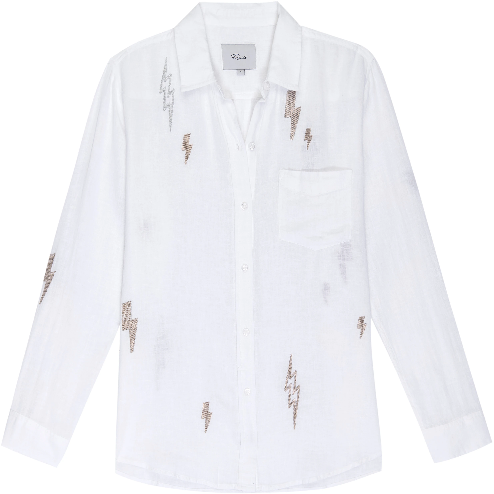 Rails Charli Lightning Embroidery Shirt - White