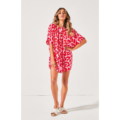 Cartel & Willow Venice Beach Tee Dress - Red & Pink Leopard