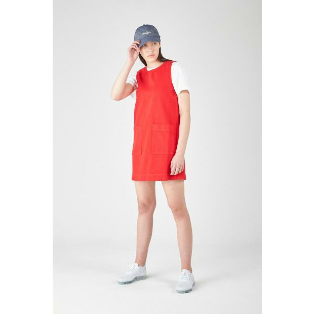 Huffer Denim A-Line Dress- Red
