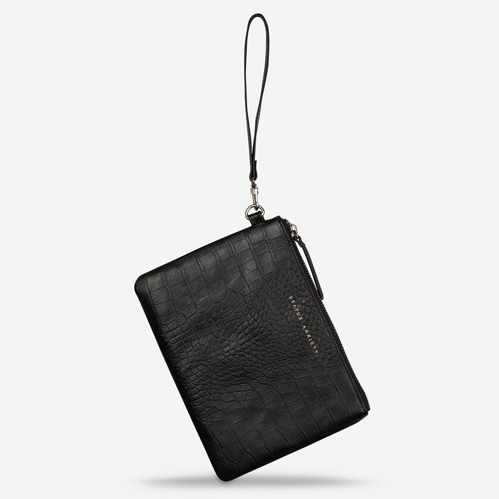 Status Anxiety Fixation Wallet - Black Croc Emboss