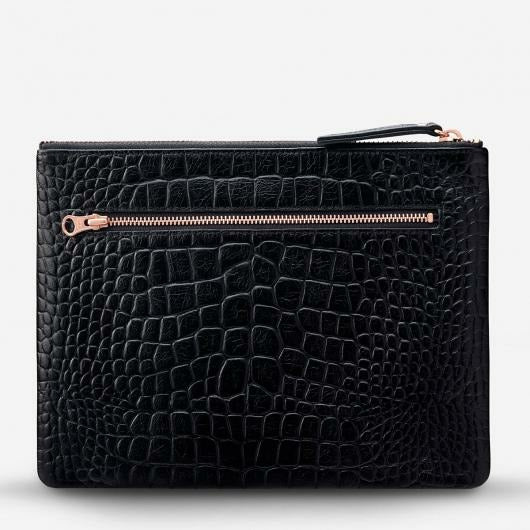 Status Anxiety Fake It Clutch - Black Croc Emboss