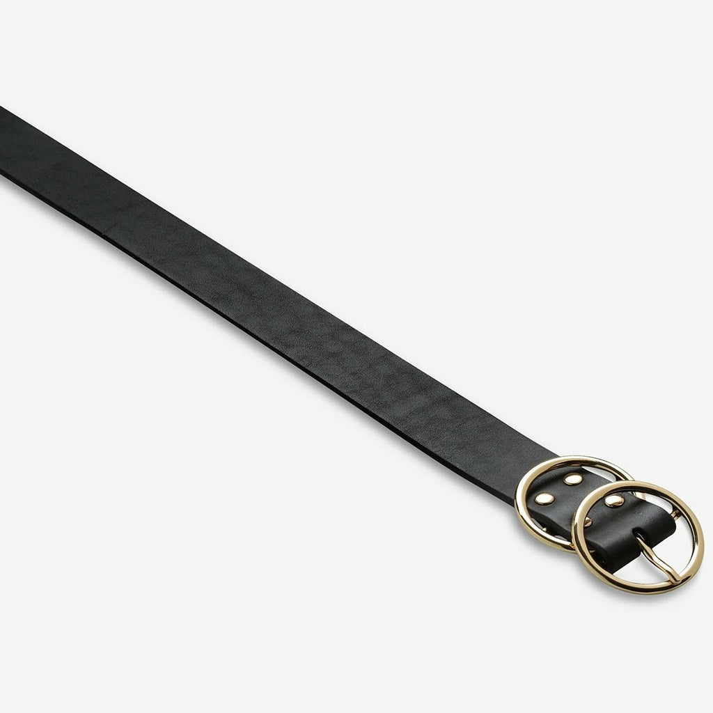 Status Anxiety Mislaid Leather Belt - Black/Gold