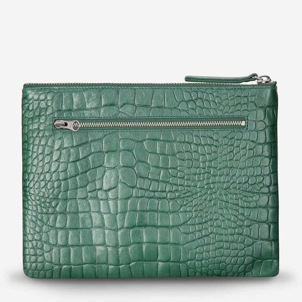 Status Anxiety Fake It Clutch - Teal Croc Emboss