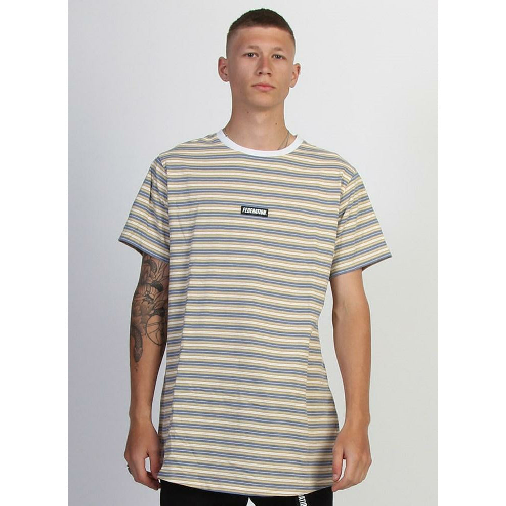 Federation Look Tee (Striped) Badge - Slate