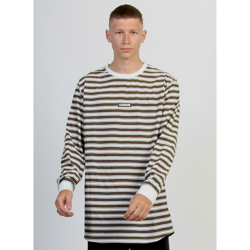 Federation LS Look Tee (Striped) Badge - White