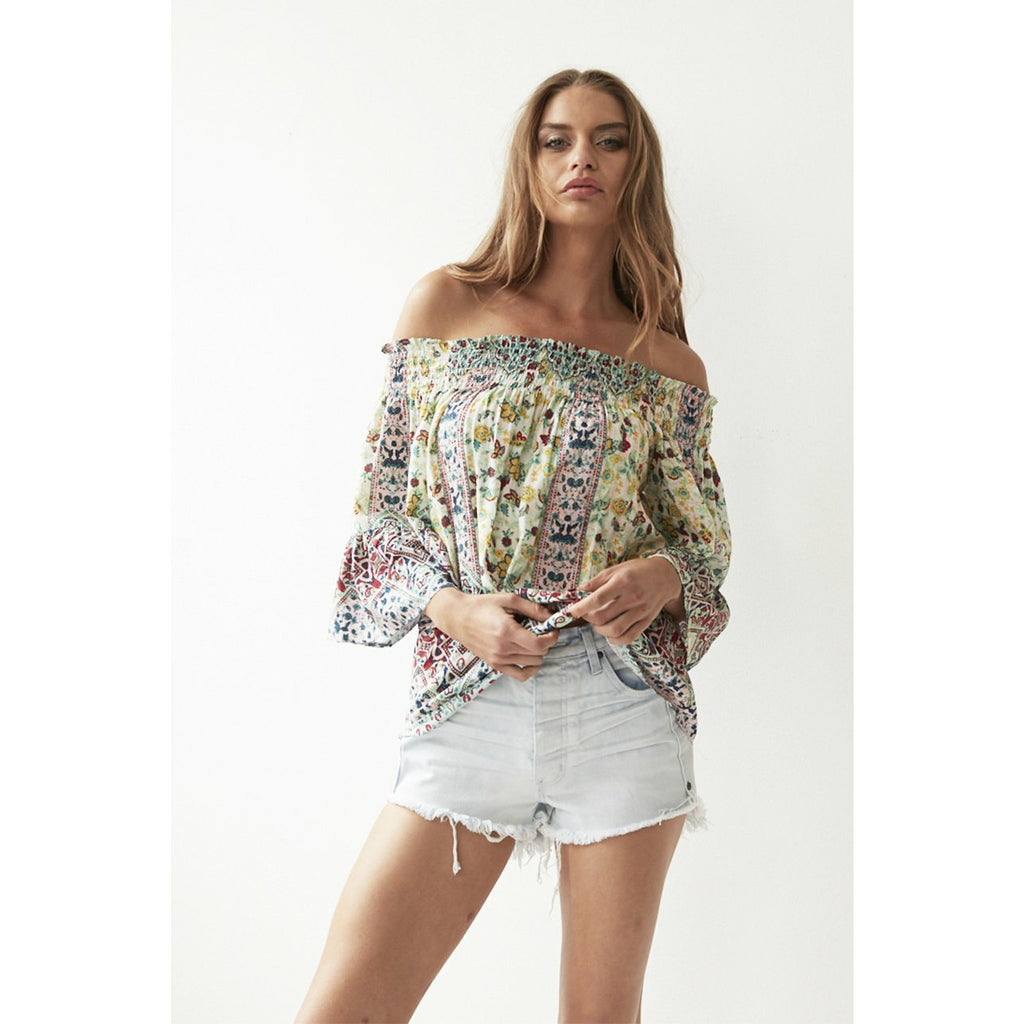 Cartel & Willow Willow Off Shoulder Top - Seafoam Marrakesh