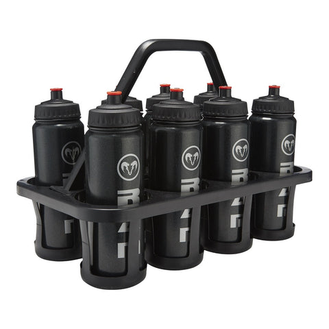 8 Water Bottles & Plastic Carrier Set