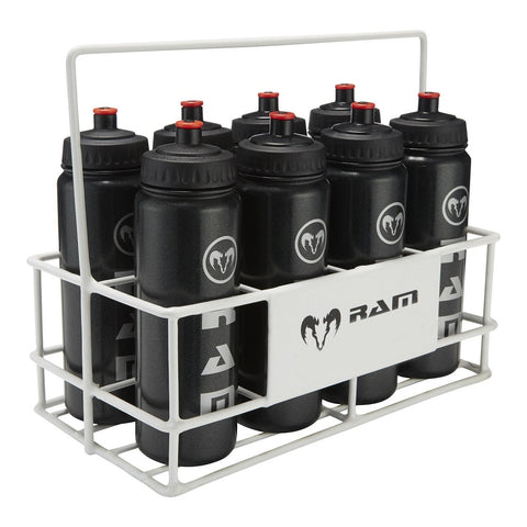8 Water Bottles & Metal Carrier Set