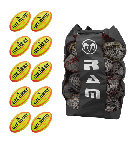 Gilbert Omega - Fluoro Match Ball Bundle