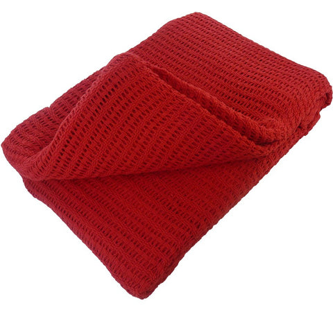 Cellular Cotton Blanket - Washable - Red