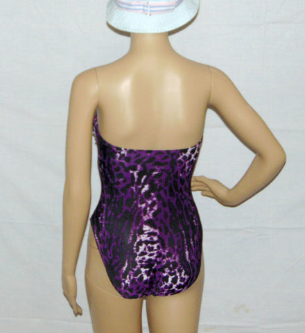 Swimsuit, One piece Swimsuit, Animal Print Swim Wear, Purple with a blend of Black, Pink and White Spandex blend swimsuit, Beach delight.