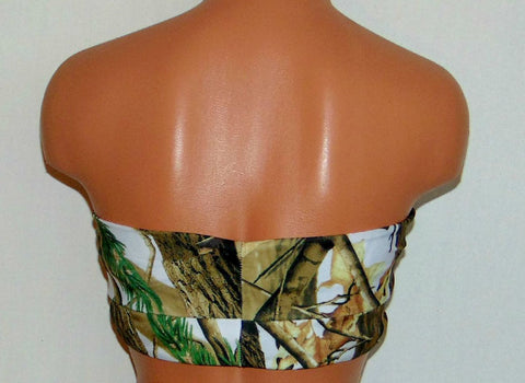 Swimsuit, Full Coverage Camo with Black Bikini Bottom, Two Piece Bikini Set, Spandex Swimsuit, Beach Delight, Super Cool. Multi color Bandeau With Black Bottom