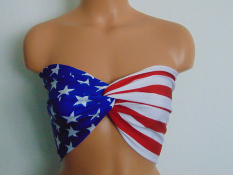 Bandeau, American flag twisted bikini top, USA Bandeau, Swimsuit top, 4th of July bandeau top.