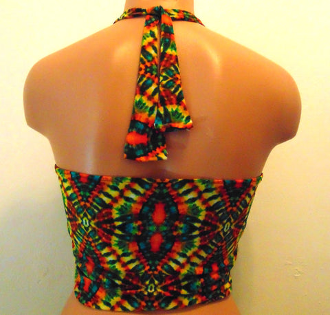 Floral Bandeau, Multi color Sporty top, Spandex/Polyester Blend bandeau, Beach Mate, Tie back Bandeau top, Bandeau with pads, Love this top.