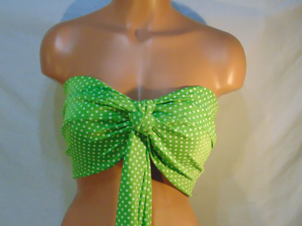 Green and white twisted bikini top with pads and hanging tie front, Swimsuit top, Spandex bandeau, bandeau top, Sexy top, Active wear.