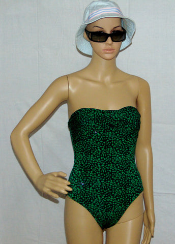 One piece Swimsuit, Green and Black with a shiny wet look. Spandex blend swimsuit, Beach delight.
