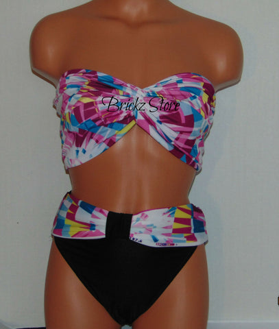 Swimsuit, Full Coverage Swimsuit, Two Piece Bikini Set, Spandex Swimsuit, Beach Delight, Super Cool. Kaleidoscope Rides With Black Bottom