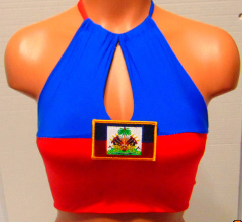 Haitian flag High Neck Key Hole Halter top with Free flow Pads, Festival key hole halter top.