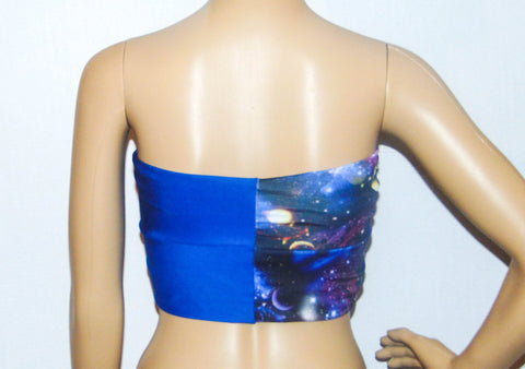 Galaxy and blue Twisted bikini top, Bandeau, Swimsuit top, Spandex bandeau, Spandex swimsuit top, bandeau top, Active wear.