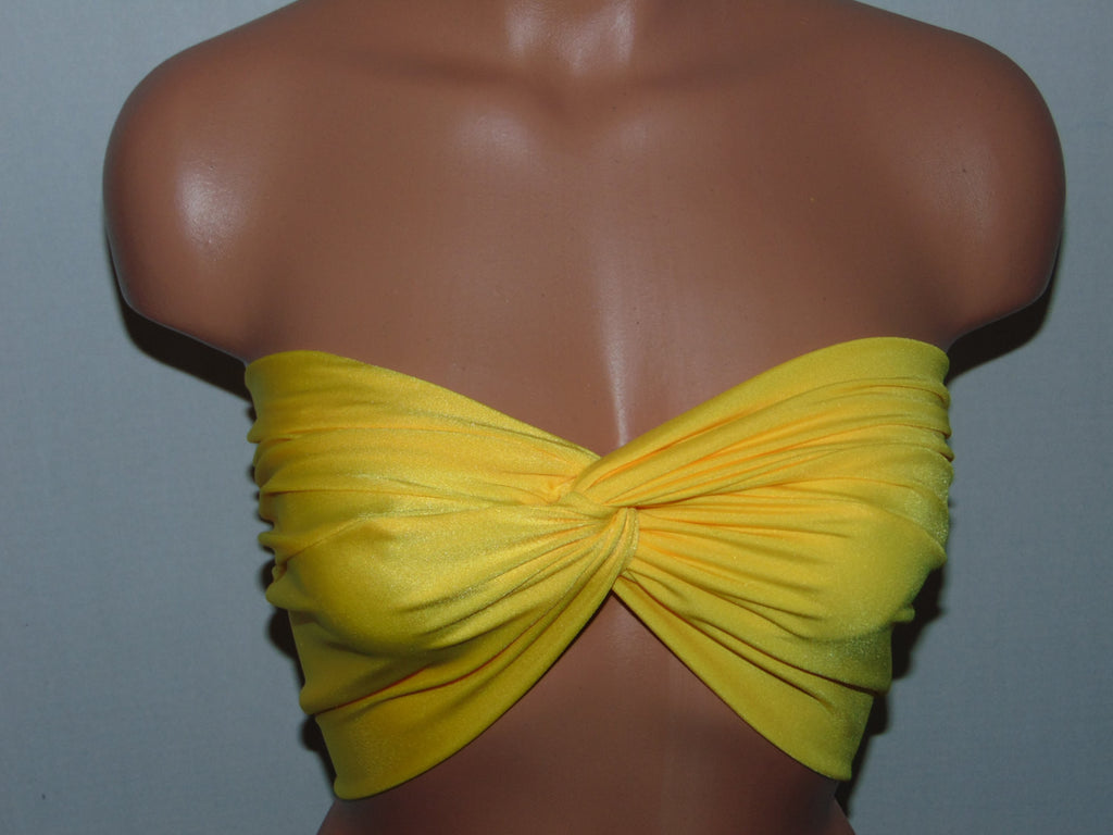 Solid Yellow twisted bikini top, Bandeau, Swimsuit top, Spandex bandeau, Spandex swimsuit top, bandeau top, Active wear.