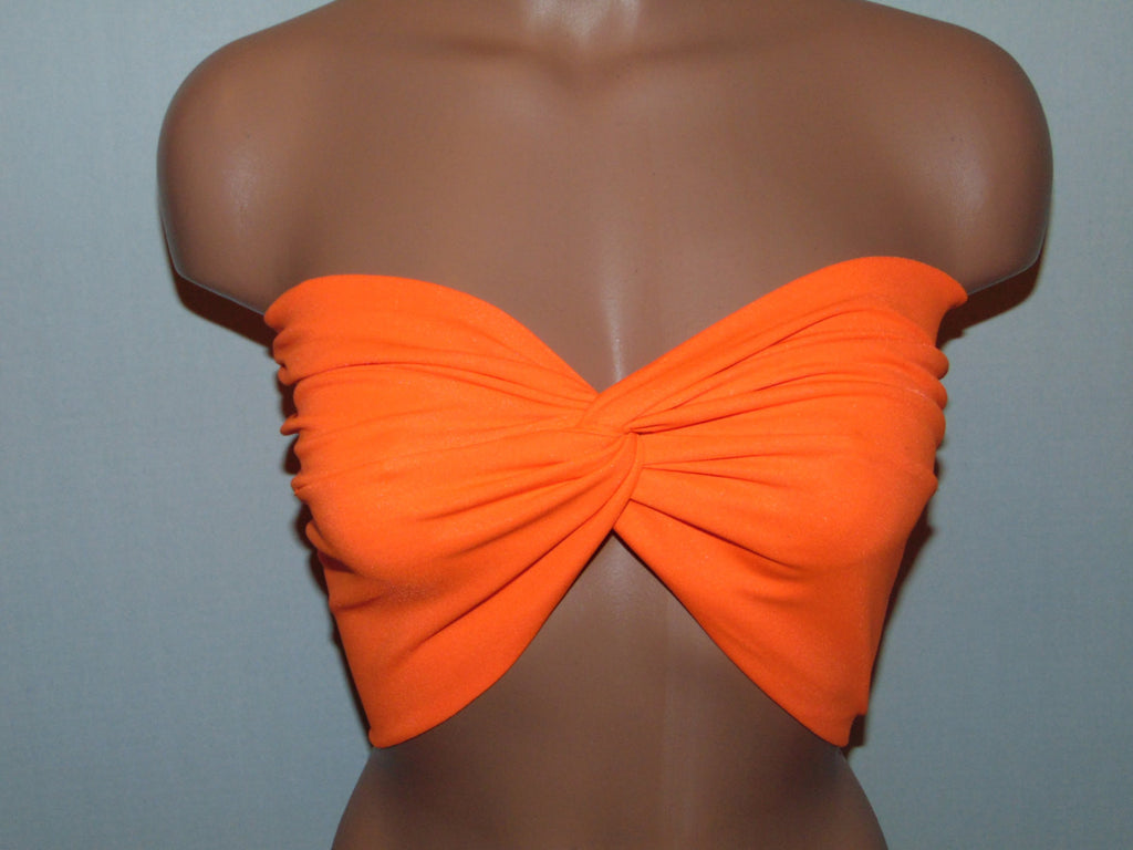 Swimwear. Orange twisted bikini top, Bandeau, Swimsuit top, Active wear.