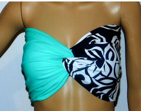 Mint and floral Twisted bikini top, Bandeau, Swimsuit top, Spandex bandeau, Spandex swimsuit top, bandeau top, Active wear.
