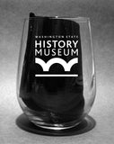 Steins, Vines, and Grinds Stemless Wine Glass - Washington State Historical Society - 2