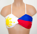 PADDED Philippine Flag Twisted Criss-Cross Bikini Top, Adjustable Lace Up Back Bandeau, Spandex Swimwear Bandeau Bikini - Voneenz