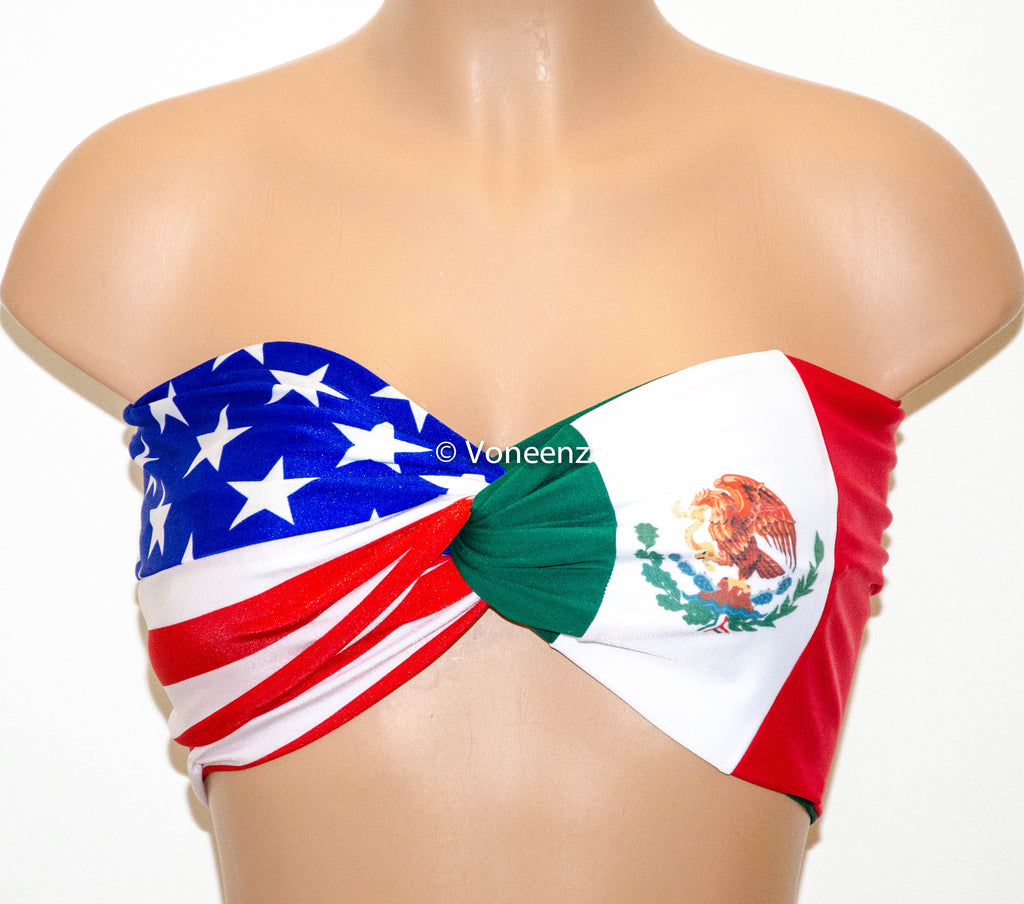 cebfcd571ec PADDED American Flag and Mexican Flag Bandeau