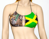 Jamaican Flag And Camo Key Hole Halter Bikini Top, Adjustable Peek-a-Boob Triangle Swimwear - Voneenz