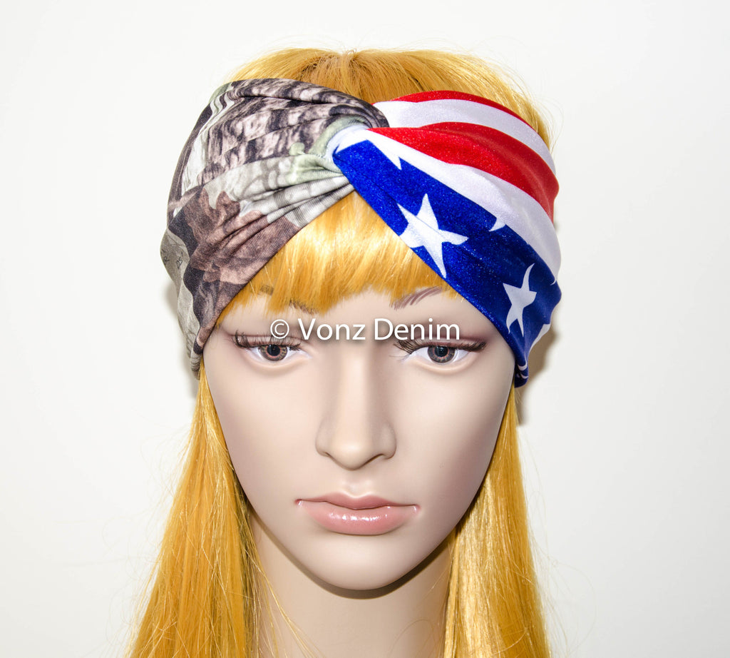 American Flag and Camo Headband, Wide Stretchy Women's Head Wrap, USA Military Turban, 4th of July Hair Band, Patriotic Twisted Headband - Voneenz