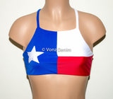 Texas Flag High Neck Halter Bikini Top, Criss Cross Adjustable Swimwear Bikini Top, 4Th Of July Bathing Suit, Festival Top Spandex Bikini - Voneenz