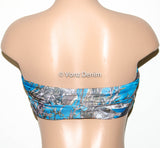PADDED Blue Camo Bandeau Top, Swimwear Bikini Top, Twisted Top Bathing Suits, Spandex Bandeau Bikini - Voneenz