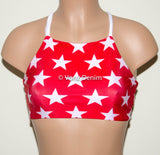 American Red & White Stars High Neck Halter Bikini Top, Criss Cross Adjustable Swimwear Bikini Top, 4Th Of July Bathing Suit, Festival Top - Voneenz
