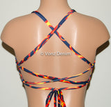 Blazing Fire High Neck Halter Bikini Top, Criss Cross Adjustable Swimwear Bikini Top, 4Th Of July Bathing Suit, Festival Spandex Top - Voneenz