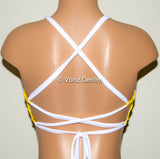 Yellow Bee Hive High Neck Halter Bikini Top, Criss Cross Adjustable Swimwear Bikini Top, 4Th Of July Bathing Suit, Festival Spandex Top - Voneenz