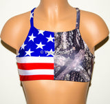 American Flag & Camo High Neck Halter Bikini Top, Criss Cross Adjustable Swimwear Bikini Top, 4Th Of July Bathing Suit, Festival Spandex Top - Voneenz