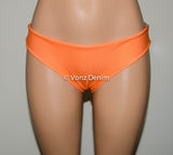Camo & Denim Orange Bikini Bow Bottoms, Cheeky/Medium Coverage Hips Bikini Bottoms, Fully Lined Swim Suit Bottom - Voneenz