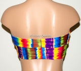 Tie Dye Multi Color Bandeau Top, Beach Bra Swimsuit Top, Rainbow Bikini Top Bandeau, Twisted Top Bathing Suits, Spandex Bandeau Bikini - Voneenz