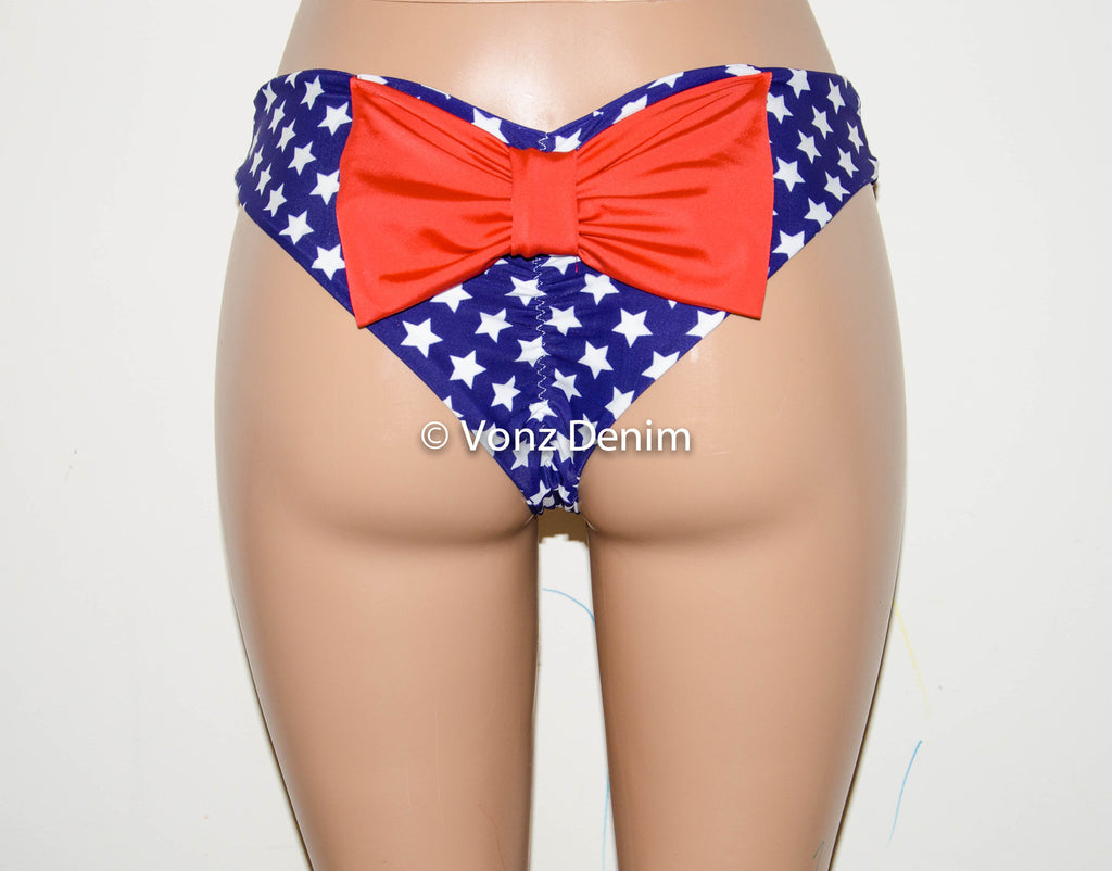 American Flag Scrunch Bow Bikini Bottom, Cheeky Hips Bikini Bottom, Brazilian Bikini Bottoms, Fully Lined Scrunch Butt Bikini Swimsuit - Voneenz