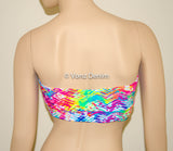Neon Chevron Twisted Bandeau, Beach Bra Swimsuit Top, Neon Tracks Bikini Top Bandeau, Twisted Top Bathing Suits, Spandex Bandeau Bikini - Voneenz