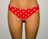 Red & White Stars Scrunch Bow Bikini Bottom, Cheeky Hips Bikini Bottom, Brazilian Bikini Bottoms, Fully Lined Scrunch Butt Bikini Swimsuit - Voneenz