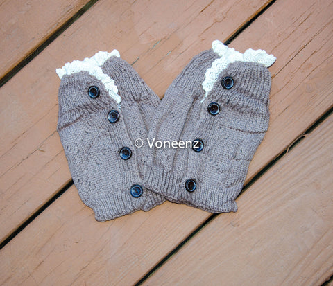 Mocha Knitted Boot Cuffs with Lace & Buttons, Holiday Boot Topper Stocking Stuffer