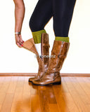 Olive & Ivory Reversible Knitted Boot Cuffs, Two Tone Boot Topper, Holiday Stocking Stuffer - Voneenz